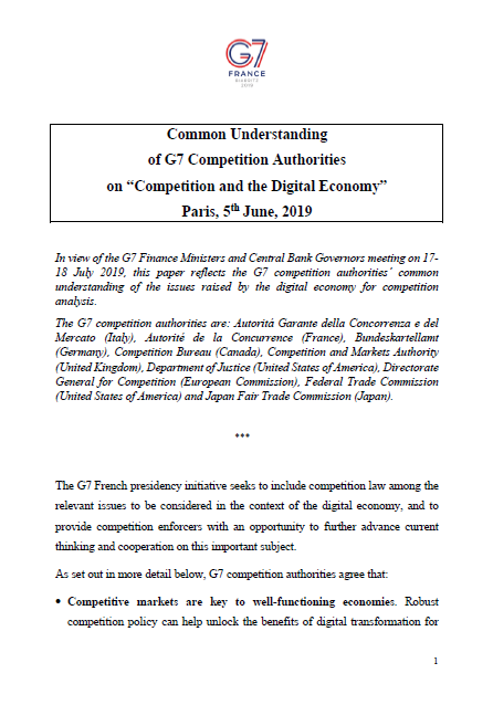 "Common Understanding of G7 Competition Authorities on ""Competition and the Digital Economy"""